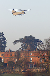 © Licensed to London News Pictures. 04/12/2019. Watford, UK. A Chinook helicopter comes in to land at The Grove Hotel where NATO leaders are meeting. World leaders are attending a series of events over the two day NATO summit which will mark the 70th anniversary of the alliance of nations. Photo credit: Peter Macdiarmid/LNP