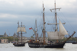 © Licensed to London News Pictures. 16/04/2017. Greenwich, UK. Thirty tall ships have sailed down the River Thames in a Parade of Sail at the climax of the Royal Greenwich Tall Ships Festival. The tall ships will be racing to Portugal in the first leg of a race which will finish in Quebec. Photo credit : Rob Powell/LNP
