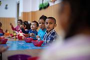 A group of children - Roma and Non Roma - at the local kindergarten in Marginenii de Jos.