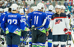 Anze Kopitar of Slovenia and Nick Bonino of USA after the Ice Hockey match between Slovenia and USA at Day 10 in Group B of 2015 IIHF World Championship, on May 10, 2015 in CEZ Arena, Ostrava, Czech Republic. Photo by Vid Ponikvar / Sportida