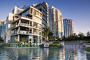 Residential buildings along the waterfront, downtown Vancouver, British Columbia, Canada.