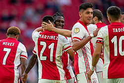 Edson Alvarez of Ajax, Lassina Traore of Ajax, Lisandro Martinez of Ajax scores 3-0 during eredivisie round 02 between Ajax and RKC at Johan Cruyff Arena on September 20, 2020 in Amsterdam, Netherlands