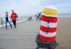© Licensed to London News Pictures. 27/05/2013..Saltburn, England..Once again the mysterious group of knitters in Saltburn by the Sea in Cleveland have been working their magic and have produced another amazing display of local seaside scenes created out of wool and attached to the Victorian Pier in the town...The woollen figures first appeared last year to mark the Olympics and then the royal wedding and created a storm of interest in the figures and brought many visitors into the town...Photo credit : Ian Forsyth/LNP