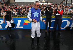 Ruby Walsh after having water thrown over him by fellow jockeys, after announcing his retirement, during day two of the Punchestown Festival at Punchestown Racecourse, County Kildare, Ireland.