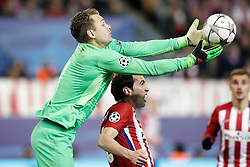 15-03-2016 ESP, UEFA CL, Atletico Madrid - PSV Eindhoven, Madrid<br /> Atletico de Madrid's Diego Godin (r) and PSV Eindhoven's Jeroen Zoet // during the UEFA Champions League Round of 16, 2nd Leg match between Atletico Madrid and PSV Eindhoven at the Estadio Vicente Calderon in Madrid, Spain on 2016/03/15. <br /> <br /> ***NETHERLANDS ONLY***