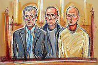 (COPYRIGHT)PRISCILLA COLEMAN ITN 11/04/02.SUPPLIED BY: PHOTONEWS SERVICE LTD OLD BAILEY.PIC SHOWS: (LEFT TO RIGHT) NICHOLAS VAN HOOGSTRATEN, DAVID CROKE AND ROBERT KNAPP AT THE OLD BAILEY WHERE THEY ARE FACING CHARGES FOR THE  MURDER OF MOHAMMED SABIR RAJA, AFTER HE WAS FOUND DEAD OUTSIDE HIS HOME WITH GUNSHOT AND KNIFE WOUNDS IN 1999. VAN HOOGSTRATEN IS THE 156TH RICHEST MAN IN ENGLAND-SEE STORY.ILLUSTRATION: PRISCILLA COLEMAN ITN