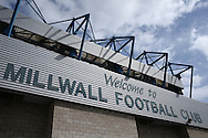 a general view of the 'Welcome to Millwall Football Club' sign on The Den Stadium. EFL Skybet football league one match, Millwall v Bradford city at The Den in London on Saturday 3rd September 2016.<br /> pic by John Patrick Fletcher, Andrew Orchard sports photography.