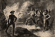 Using fire extinguishers to attack a fire in a coal mine. From  'Underground Life; or, Mines and Miners' by Louis Simonin (London, 1869). Wood engraving.