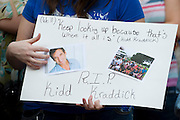 ACTION during a memorial service for Kidd Kraddick outside of the American Airlines Center in Dallas, Texas on August 15, 2013.