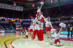 NORMAL, IL - February 15: Redbird Cheerleaders perform a standing pyramid routine while wearing retro t's during a college basketball game between the ISU Redbirds and the Valparaiso Crusaders on February 15 2020 at Redbird Arena in Normal, IL. (Photo by Alan Look)
