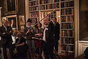 JUSTIN CARTRIGHT; FRANKIE MCCOY; MELISSA TRICOIRE, THE DUKE OF BUCCLEUCH, aThe Walter Scott Prize for Historical Fiction 2015 - The Duke of Buccleuch hosts party to for the shortlist announcement. <br /> The winner is announced at the Borders Book Festival in Scotland in June.John Murray's Historic Rooms, 50 Albemarle Street, London, 24 March 2015.