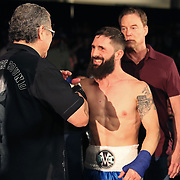 FORT LAUDERDALE, FL - FEBRUARY 15: Outman Stitch Duran readies fighter Travis Thompson during the Bare Knuckle Fighting Championships at Greater Fort Lauderdale Convention Center on February 15, 2020 in Fort Lauderdale, Florida. (Photo by Alex Menendez/Getty Images) *** Local Caption *** Stitch Duran; Travis Thompson