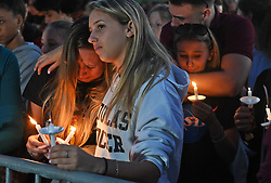 Mourners gather at a vigil that was held for the victims of the mass shooting at Marjory Stoneman Douglas High School in Parkland, FL, USA, on Thursday, February 15, 2018. Photo by Jim Rassol/Sun Sentinel/TNS/ABACAPRESS.COM