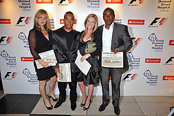 Left to right, LINDA HAMILTON, NICHOLAS HAMILTON brother of Lewis Hamilton, guest and ANTHONY HAMILTON at the F1 Party in aid of the Great Ormond Street Hospital Children's Charity held at the V&A, Londonon 17th June 2009.