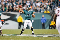 Philadelphia Eagles quarterback Donovan McNabb #5 throws a pass during the NFL game between the Denver Broncos and the Philadelphia Eagles on December 27th 2009. The Eagles won 30-27 at Lincoln Financial Field in Philadelphia, Pennsylvania. (Photo By Brian Garfinkel)