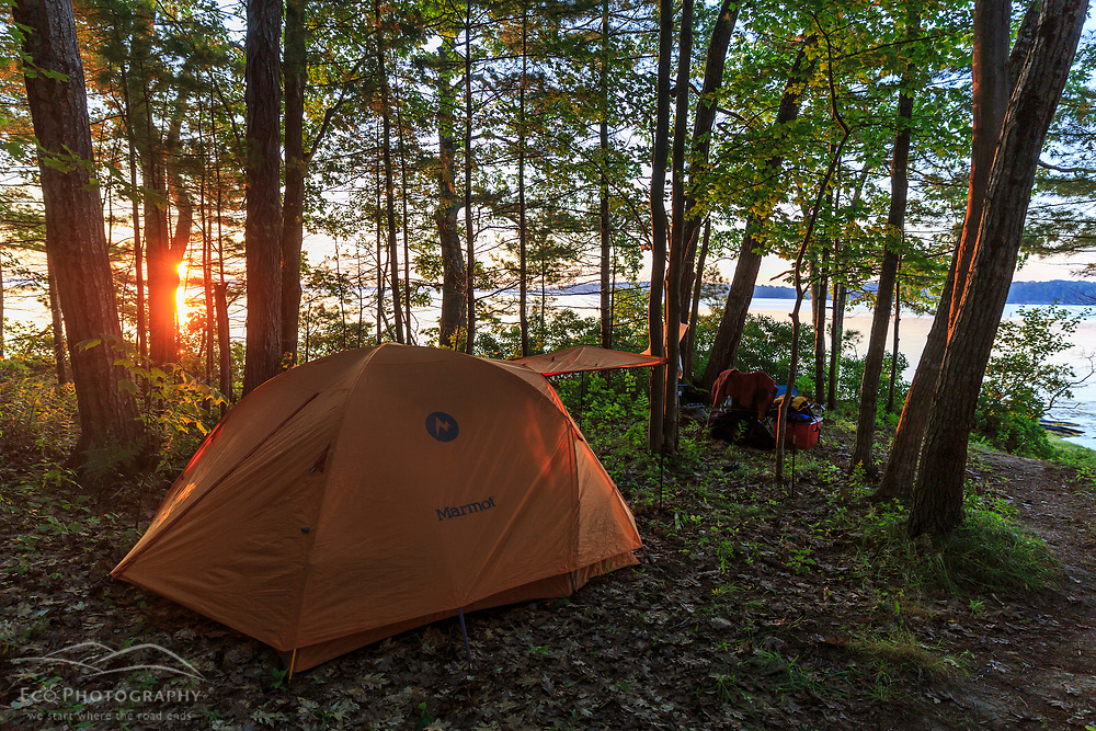 Camping on Lanes Island in Casco Bay. Yarmouth, Maine. Sunrise.