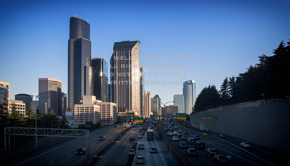 Image of the downtown Seattle skyline with the I-5 freeway, Seattle, Washington, Pacific Northwest by Randy Wells
