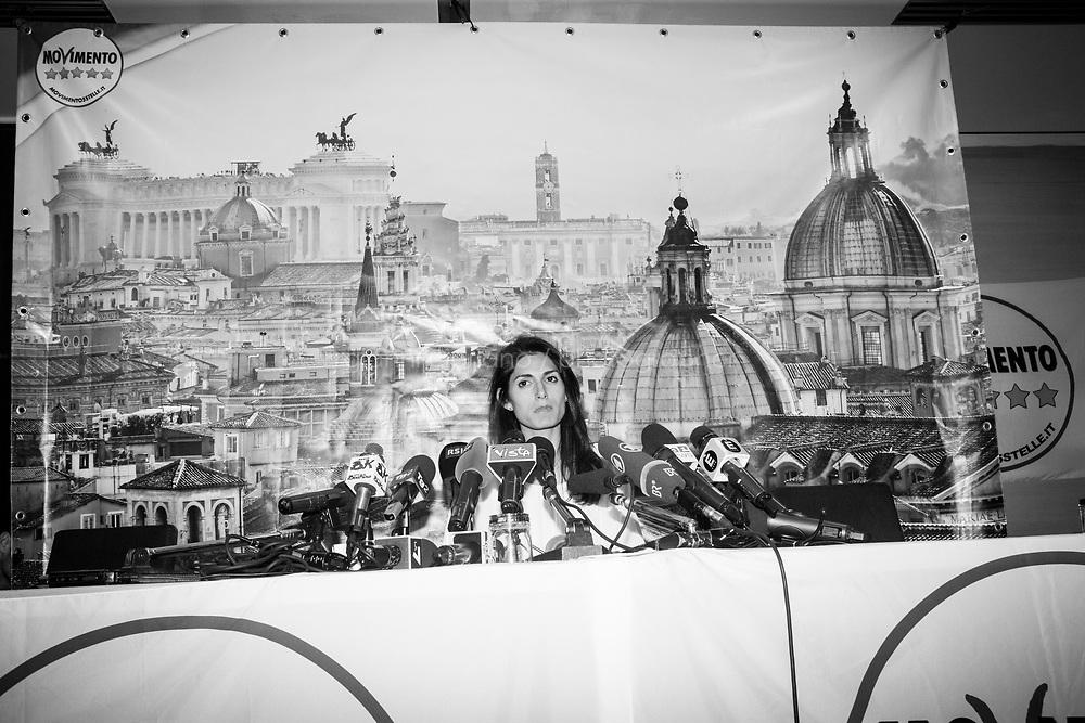 ROMA, 20 GIUGNO 2016: Conferenza stampa di Virginia Raggi, sindaco di Roma per il Movimento 5 stelle, dopo aver battuto al ballottaggio Roberto Giachetti (PD) con il 67,15% dei voti contro il 32,85%.