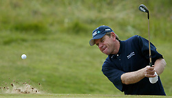 Zimbabwe's Nick Price plays out of a bunker on the 4th during a practice round for The 133rd Open Championship at the Royal Troon Golf Club, Scotland. EDITORIAL USE ONLY, NO MOBILE PHONE USE.