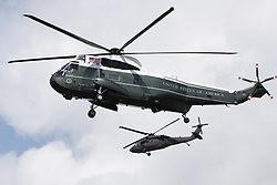 © Licensed to London News Pictures. 03/06/2019. London, UK. Marine One carrying US President Donald Trump lands at Buckingham Palace during his State Visit to the United Kingdom. During his three days in the UK he will meet with members of the Royal family and outgoing Prime Minister Theresa May before attending 75th Anniversary of D-Day commemorations in Portsmouth and France. Photo credit: Peter Macdiarmid/LNP