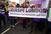 Waspi women at the Britain is Broken - General Election Now demonstration against Tory cuts and austerity on 12th January 2019 in London, United Kingdom. Irrespective of which way people voted in the EU referendum, this protest was calling for an end to austerity and homelessness, the nationalisation of rail and other utilities, and ultimately, for a general election to end the Tories power.