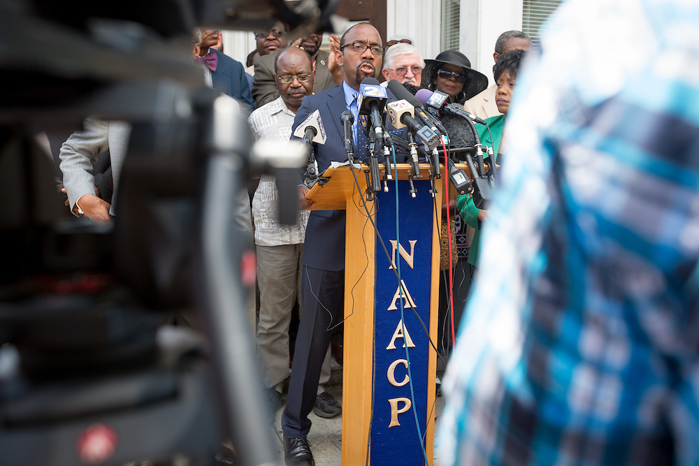 NAACP President Cornell William Brooks speaks during a press conference at the Charleston Branch of the NAACP on June 19, 2015. He was speaking about the shootings at Emanuel African Methodist Episcopal Church which left nine people dead on June 17, 2015 in Charleston, South Carolina. A suspect, Dylann Roof, 21, was arrested in connection with the shootings. Photo by Kevin Liles/UPI