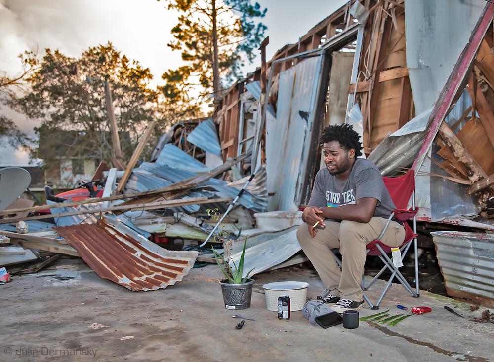 9/16/21 Marco Collins outside of his home  destroyed  by Hurricane Ida in St. James LA. He had yet to recieve any assistance as of 9/16/2021.