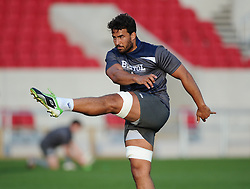 Marco Mama in action as Bristol Rugby players train in front of the new South Stand, opened to the public for the first time - Mandatory byline: Joe Meredith/JMP - 07966 386802 - 07/08/2015 - RUGBY UNION - Ashton Gate Stadium - Bristol, England - South Stand Opening.