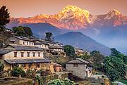 Annapurna South (7291 m) , winter dawn, from Gandrung village, Annapurna circuit, Nepal Himalaya.