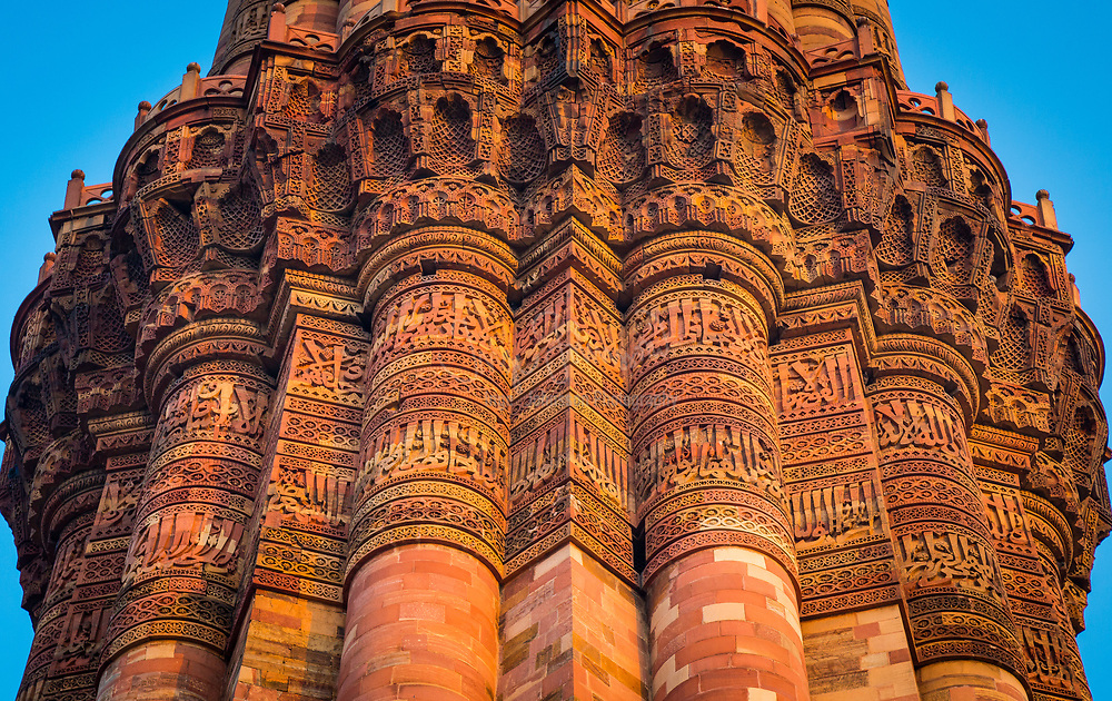 Qutub Minar (The Qutub Tower‎), also known as Qutb Minar and Qutab Minar, is the tallest minar (73 metres) in India originally an ancient Islamic Monument, inscribed with Arabic inscriptions, though the iron pillar has some Brahmi inscriptions, and is a UNESCO World Heritage Site. Located in Delhi, the Qutub Minar is made of red sandstone and marble. The stairs of the tower has 379 steps, is 72.5 metres (237.8 ft) high, and has a base diameter of 14.3 metres, which narrows to 2.7 metres at the top. Construction was started in 1192 by Qutub-ud-din Aibak and was carried on by his successor, Iltutmish. In 1368, Firoz Shah Tughlak constructed the fifth and the last storey. It is surrounded by several other ancient and medieval structures and ruins, collectively known as the Qutub complex.