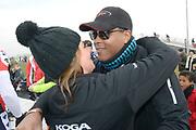 Leden van de koninklijke familie nemen deel aan de tweede editie van De Hollandse 100 op FlevOnice, een sportief evenement van fonds Lymph&Co ter ondersteuning van onderzoek naar lymfeklierkanker. <br /> <br /> Members of the royal family take part in the second edition of the Dutch 100 on FlevOnice, a sporting event Lymph & Co fund to support research into lymphoma.<br /> <br /> Op de foto / On the photo:  Rosanna en Patrick Kluivert