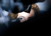 The eye of a woman during a filmset in Prague, Czech Republic.