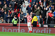 Xherdan Shaqiri of Stoke City celebrates after scoring his teams 1st goal to make it 1-1. Premier league match, Stoke City v Leicester City at the Bet365 Stadium in Stoke on Trent, Staffs on Saturday 4th November 2017.<br /> pic by Chris Stading, Andrew Orchard sports photography.