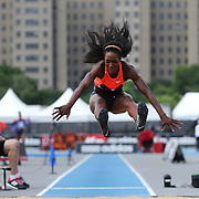 Funmi Jimoh, USA, in action during the Women's long Jump competiton during the Diamond League Adidas Grand Prix at Icahn Stadium, Randall's Island, Manhattan, New York, USA. 13th June 2015. Photo Tim Clayton