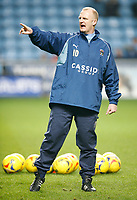 New Coventry City Manager Iain Dowie overseas the pre match warm up.