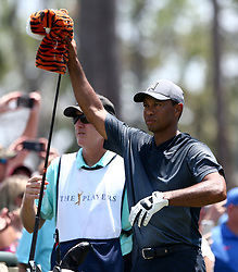 May 11, 2018 - Ponte Vedra Beach, Florida, U.S. - Tiger Woods (R) grabs a club with Tiger cover on the 9th tee during the second round of The PLAYERS Championship at TPC Sawgrass. (Credit Image: © Debby Wong via ZUMA Wire)