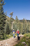 Two hikers with dog on hike in mountains of New Mexico.