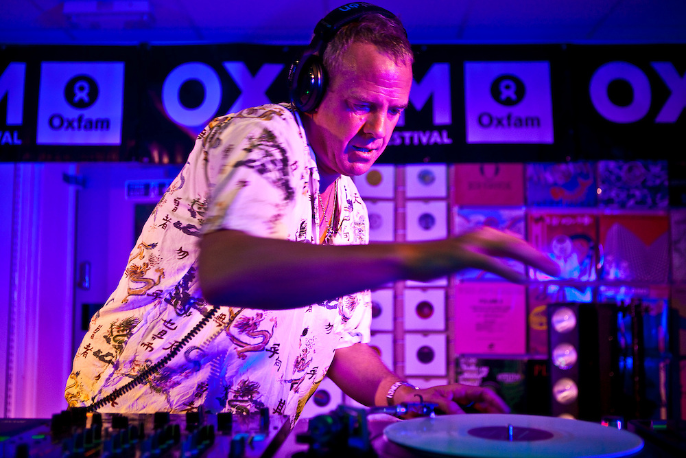 Fatboy Slim (Norman Cook) playing a set at the Tooting branch of the Oxfam charity shop as part of Oxjam 2009.