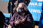 28 OCTOBER 2020 - DES MOINES, IOWA: MARTI ANDERSON, a Democratic Iowa State Representative, talks to voters about the Biden/Harris ticket and US Rep. Cindy Axne at a Get Out the Vote event at Drake University. Rep. Axne hosted a Get Out the Vote event at Drake University Wednesday morning. Axne, a Democrat, represents Iowa's 3rd District, from the southwest corner of the state up through the Des Moines area. She is in a tight race for reelection with David Young, the Republican she defeated in 2018.    PHOTO BY JACK KURTZ
