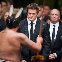 All Blacks captain Richie McCaw and coach Graham Henry are welcomed with their team onto Turangawaewae Marae, to be hosted by Maori King Tuheita, at Ngaruawahia, near Hamilton, New Zealand, Sunday 11 September 2011. Photo: Stephen Barker/PHOTOSPORT
