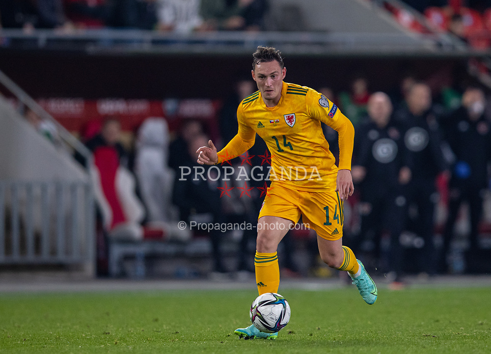 PRAGUE, CZECH REPUBLIC - Friday, October 8, 2021: Wales' Connor Roberts during the FIFA World Cup Qatar 2022 Qualifying Group E match between Czech Republic and Wales at the Sinobo Stadium. The game ended in a 2-2 draw. (Pic by David Rawcliffe/Propaganda)