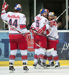 08.03.2011, Volksgarten, Salzburg, AUT, EBEL, EC Red Bull Salzburg vs HDD TILIA Olimpija Ljubljana, im Bild Torjubel bei Red Bull nach dem Führungstreffer durch Marco Pewal , (EC Red Bull Salzburg, (# 36) // during the Eishockey Erste Bank Playoff Match between EC Red Bull Salzburg vs HDD TILIA Olimpija Ljubljana on 08/03/2011, EXPA Pictures © 2011, PhotoCredit: EXPA/ J. Feichter