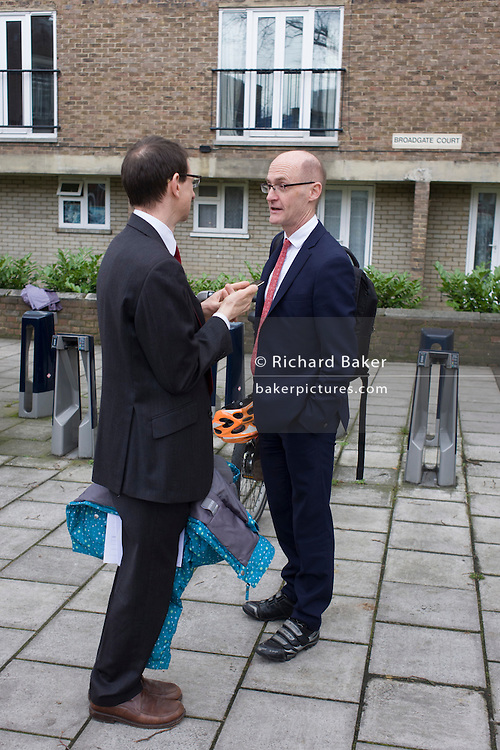 Campaigner Zachary Bredemear and barrister outside Lambeth County Court in Kennington after the hearing to fight occupation of Carnegie Library in Herne Hill, south London while occupiers remain inside the premises on day 9 of its occupation, 8th April 2016. The angry local community in the south London borough have occupied their important resource for learning and social hub for the weekend. After a long campaign by locals, Lambeth have gone ahead and closed the library's doors for the last time because they say, cuts to their budget mean millions must be saved.