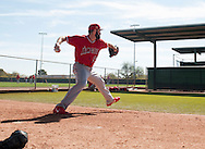Angels' pitcher Matt Shoemaker throws in the bullpen before facing live BP during workouts at the Angels' Spring Training facility in Tempe, AZ on Wednesday, February 22, 2017. (Photo by Kevin Sullivan, Orange County Register/SCNG)
