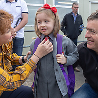 Eili Hanrahan with parents Claire and Paudge on her First day at Crusheen National School