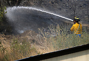 Firefighters work to stop the spread of the fire eastward towards homes and orchards near Conconully Road at Douglas Road in Okanogan Friday August 21, 2015.<br /> <br /> Bettina Hansen / The Seattle Times
