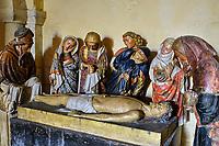 France, Nièvre (58), Nevers, cathédrale Saint-Cyr-et-Sainte-Julitte, la Mise au tombeau de pierre polychrome (fin Xvème, début XVIème siècle), sur le chemin de Saint-jacques de Compostelle, val de Loire // France, Nièvre (58), Nevers, Saint-Cyr-et-Sainte-Julitte cathedral, Polychrome stone entombment (late 15th, early 16th century), on the way to Saint-Jacques de Compostelle, Loire valley