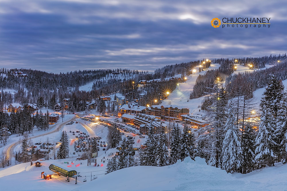 Village area at dusk at Whitefish Mountain Resort in Whitefish, Montana, USA