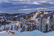 Village area at dusk at Whitefish Mountain Resort in Whitefish, Montana, USA