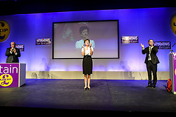 Ukip leader Diane James gives a minutes applause for all Ukip campaigners who have passed away at the UKkip annual conference, Bournemouth.